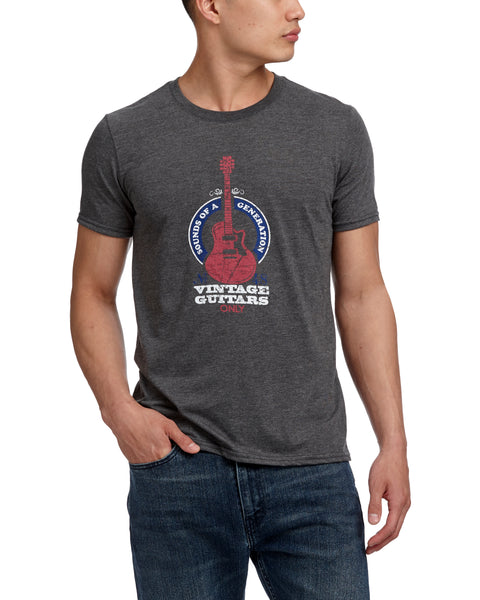 VINTAGE GUITARS TEE HEATHER DARK GREY HEATHER