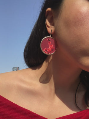 Sparrow and Plum Blossom Earrings (Red)