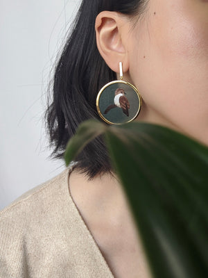 Sparrow and Plum Blossom Earrings (Green)
