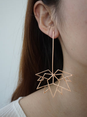 Maple Leaf Rose Gold Earrings