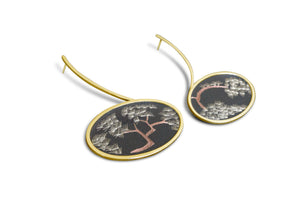Pine Embroidery Gold Earrings