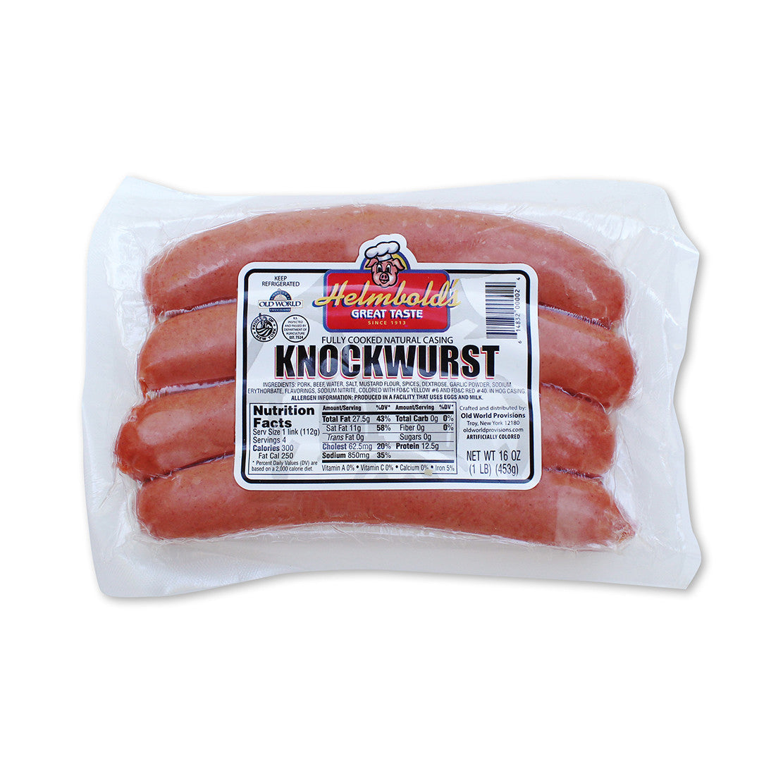 Helmbold's knockwurst is known as a jumbo frank, sausage or wurst.