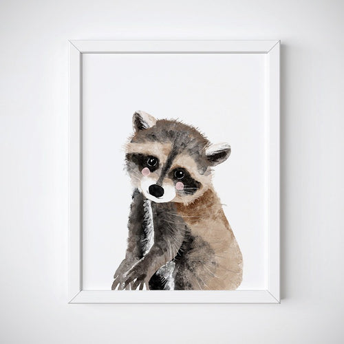 Baby Raccoon Animal Wall Art - Instant Download