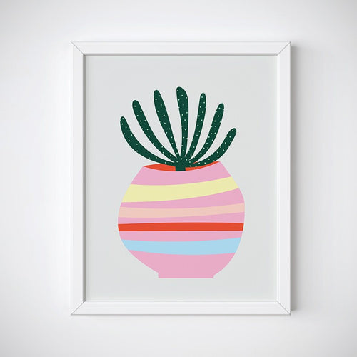 Striped Succulent Wall Art