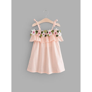 Girls 3D Floral Ruffle Trim Cami Dress - Whispering Winds by The OutCo.