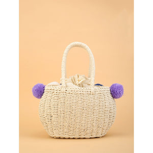 Pom Pom & Tassel Straw Tote Bag - Whispering Winds by The OutCo.