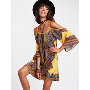 Tribal Print Kimono Sleeve Dress - Whispering Winds by The OutCo.