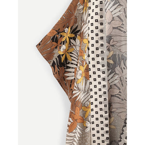 Tropical Print Longline Kimono - Whispering Winds by The OutCo.