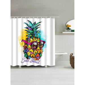 Pineapple Print Shower Curtain With 12pcs Hook - Whispering Winds by The OutCo.