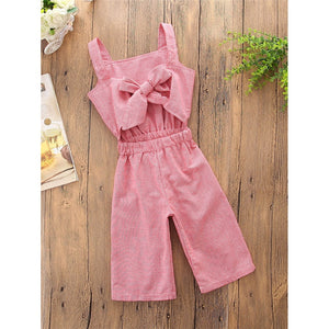 Girls Bow Back Plaid Jumpsuit - Whispering Winds by The OutCo.