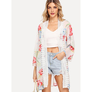 Contrast Lace Floral Print Split Kimono - Whispering Winds by The OutCo.