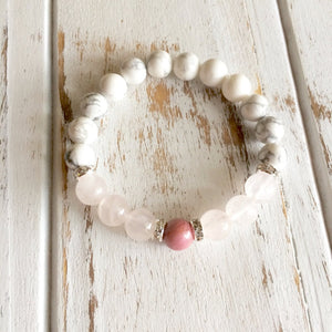 Help to Release Anger ~ Genuine Rose Quartz, White Howlite & Rhodonite Bracelet w/ Swarovski Crystal Spacers - Whispering Winds by The OutCo.