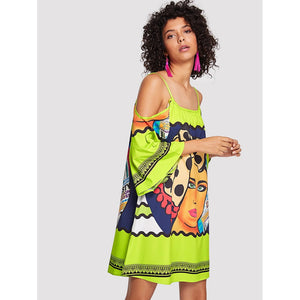 Cartoon Print Cold Shoulder Dress - Whispering Winds by The OutCo.