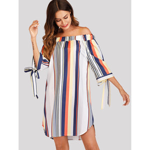 Off Shoulder Striped Knot Cuff Dress - Whispering Winds by The OutCo.