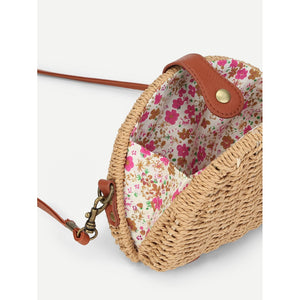 Semicircular Straw Crossbody Bag - Whispering Winds by The OutCo.