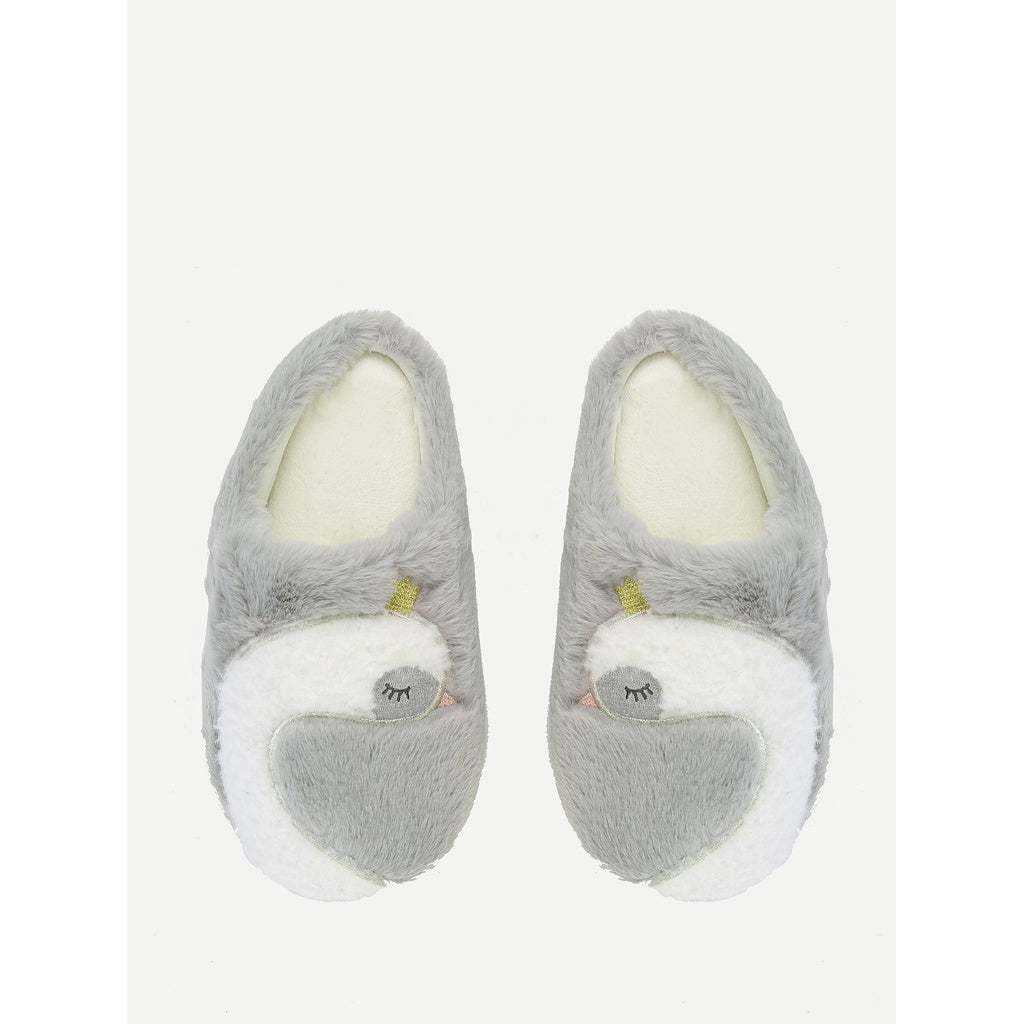 29c2810215f Swan Panel Fluffy Slippers - Whispering Winds by The OutCo.