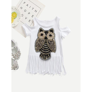 Kids Owl Fringe Tee - Whispering Winds by The OutCo.