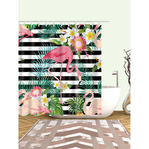 Flamingos Shower Curtain With 12pcs Hook - Whispering Winds by The OutCo.