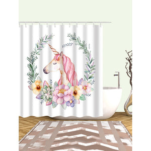 Unicorn Print Shower Curtain With 12pcs Hook - Whispering Winds by The OutCo.