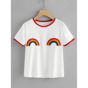 Rainbow Patched Ringer Tee - Whispering Winds by The OutCo.