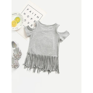 Girls Owl Fringe Tee - Whispering Winds by The OutCo.
