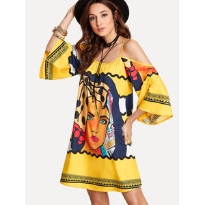 Mixed Print Kimono Sleeve Dress - Whispering Winds by The OutCo.