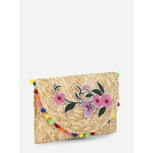 Flower Appliques Straw Clutch Bag - Whispering Winds by The OutCo.
