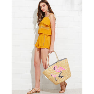 Flamingo Pattern Straw Tote Bag - Whispering Winds by The OutCo.