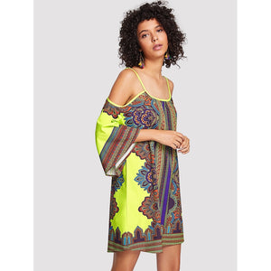 Geo Print Cold Shoulder Dress - Whispering Winds by The OutCo.