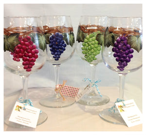 Grape Wine Glasses - Whispering Winds by The OutCo.