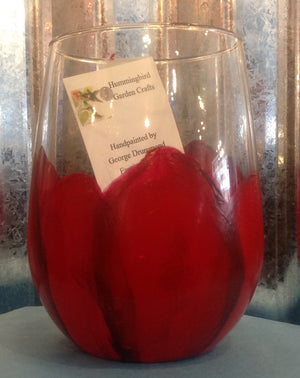 Stemless Tulip Wine Glass in Red, Orange, Yellow & Purple - Whispering Winds by The OutCo.