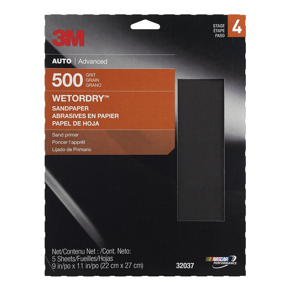 MMM-32037 3M™ Wetordry™ Sandpaper, 32037, 500 Grit, 9 inch x 11 inch, 5 sheets per pack