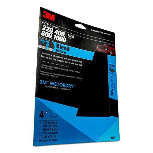 "MMM-03021 Wetordry 9"" x 11"" Sandpaper Sheet with Assorted Grit Sizes"