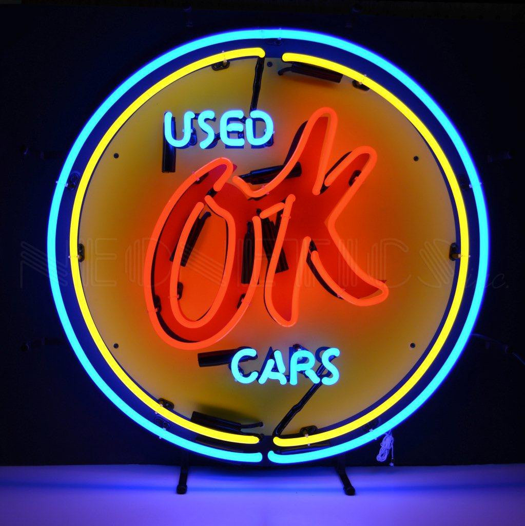 NEO-5CHVOK-OK USED CARS NEON SIGN