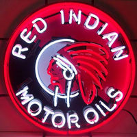 NEO-5GSIND-RED INDIAN MOTOR OILS NEON SIGN