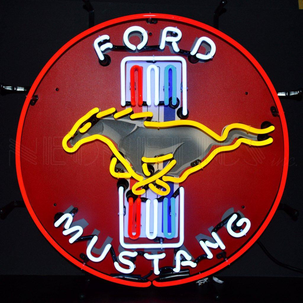 NEO-5MUSTB-FORD MUSTANG RED NEON SIGN WITH BACKING