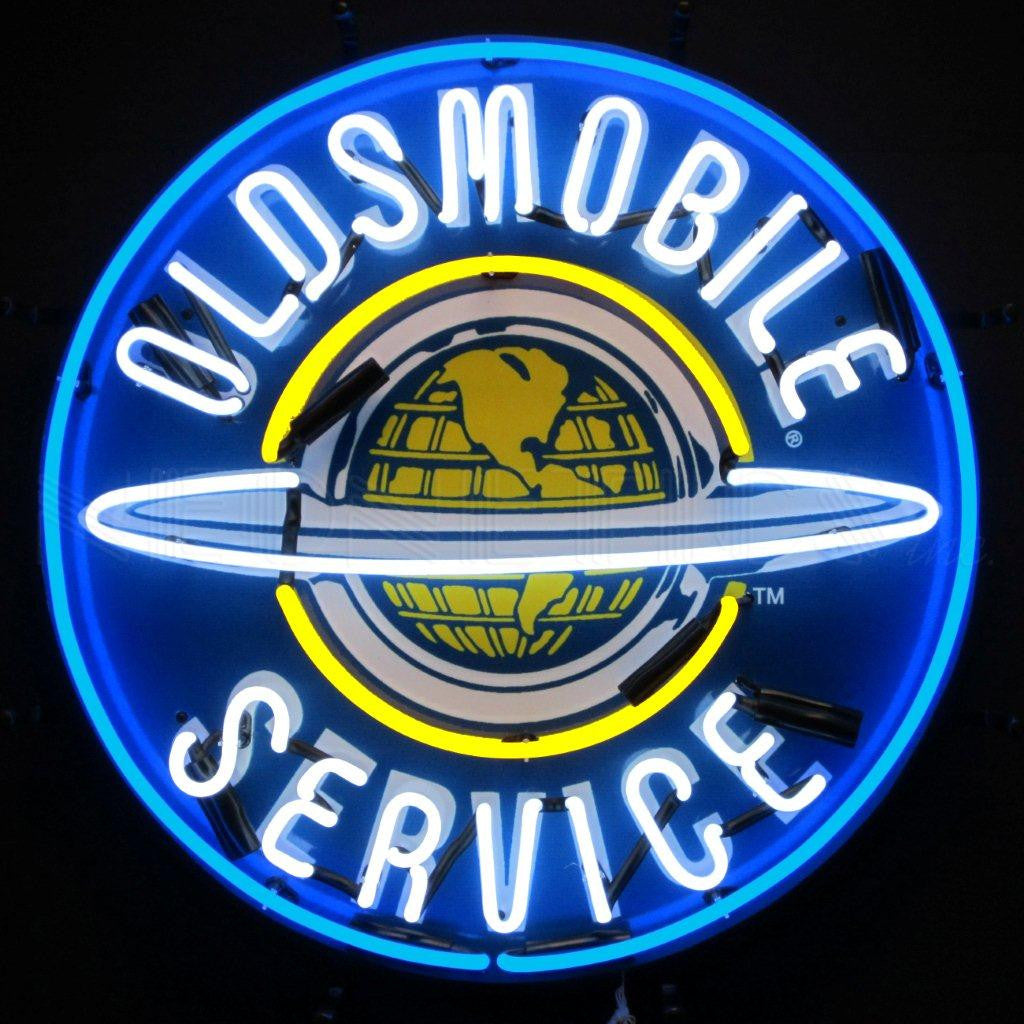NEO-5OLDBK-OLDSMOBILE SERVICE NEON SIGN WITH SILKSCREEN BACKING