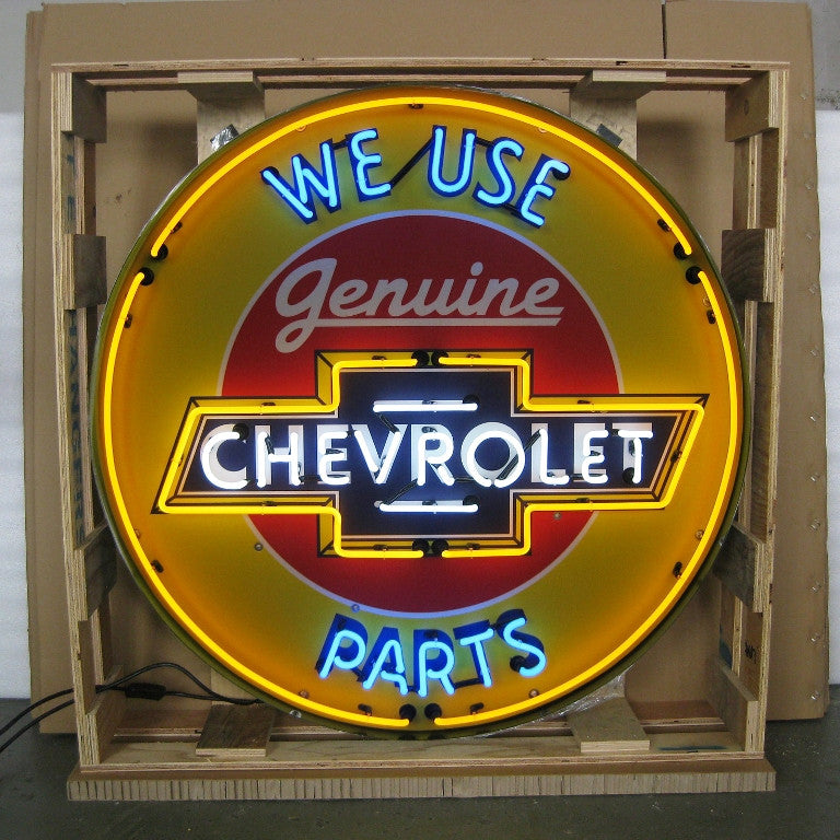 NEO-9CHVBK-CHEVROLET 36 INCH NEON SIGN IN METAL CAN