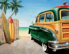 DE-1147-Retro Auto - Beach Woody