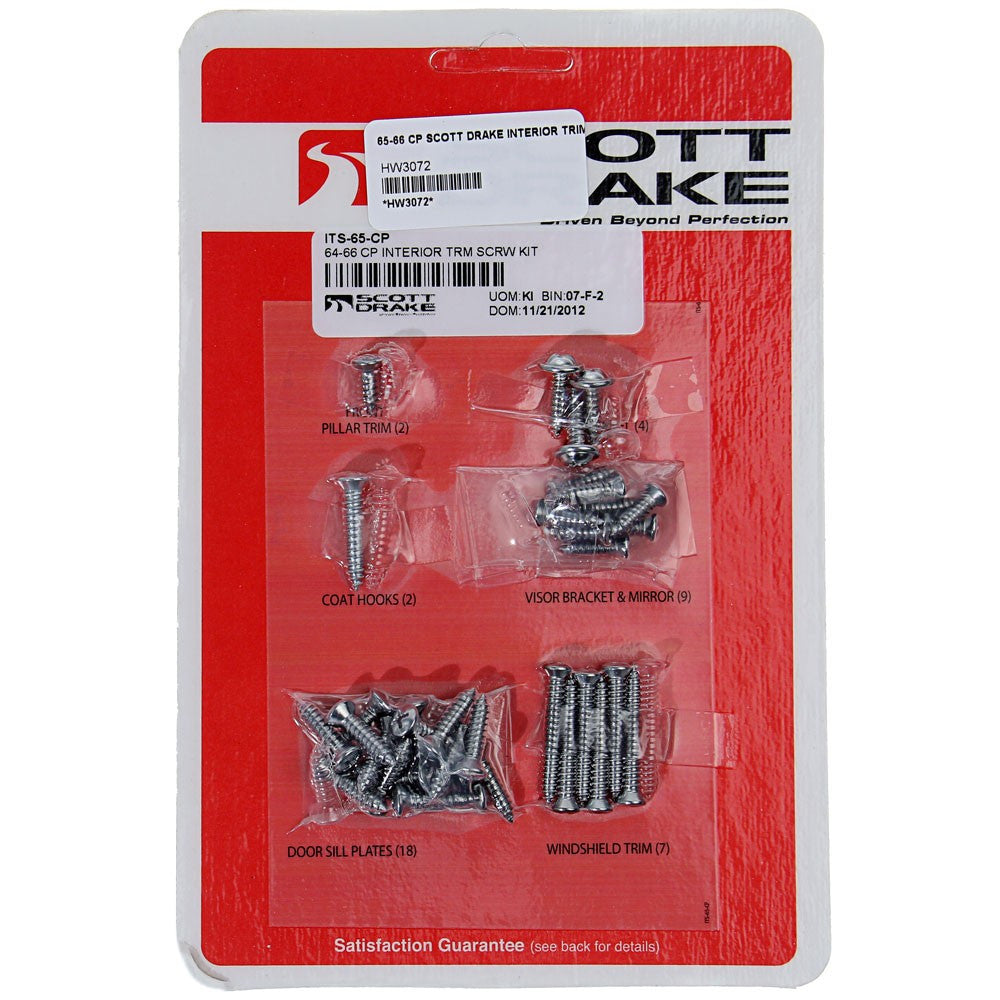 SDK-ITS-65-CP Scott Drake Interior Trim Screw Kits