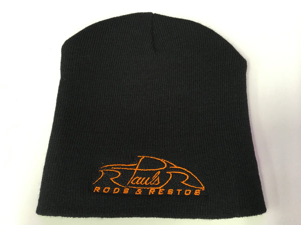 PRR2-Paul's Rods and Restos Black Knit Straight Beanie, Embroidered logo