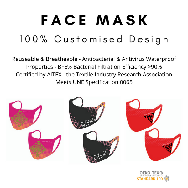 Custom Designed Hygiene Masks for Schools & Clubs (Pre Order)