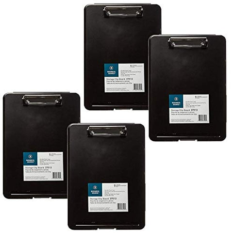 Business Source Plastic Storage Clipboard - Black - Letter-Size (37513) - 4 Pack