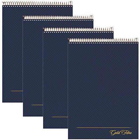 "AMPAD Gold Fibre Project Planner, Top-Wire Bound, 8-1/2"" x 11-3/4"", Project Rule, Navy Cover, 70 Sheets (20-815) - 4 PACK"