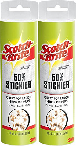 "(2) Scotch-Brite Large Surface 8"" Wide Lint Roller Refills (120 Sheets Total) Cat Dog Pet Hair Animal Fur Remover Clothing Upholstery Bundle Value Pack Combo"