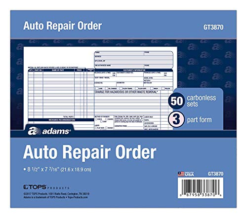Adams Auto Repair Order Forms, 8.5 x 7.44 Inch, 3-Part, Carbonless, 50-Pack, White and Canary (GT3870) - 4 Pack