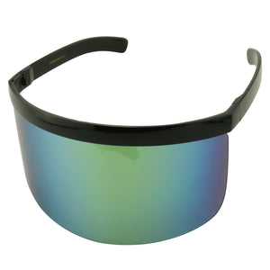 MARTY Oversized Flat Top Visor Mirrored Lens Sunglasses - ShadyVEU