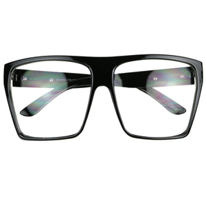 NIKKY Oversized Super Flat Top Retro Fashion Clear Lens Glasses - ShadyVEU