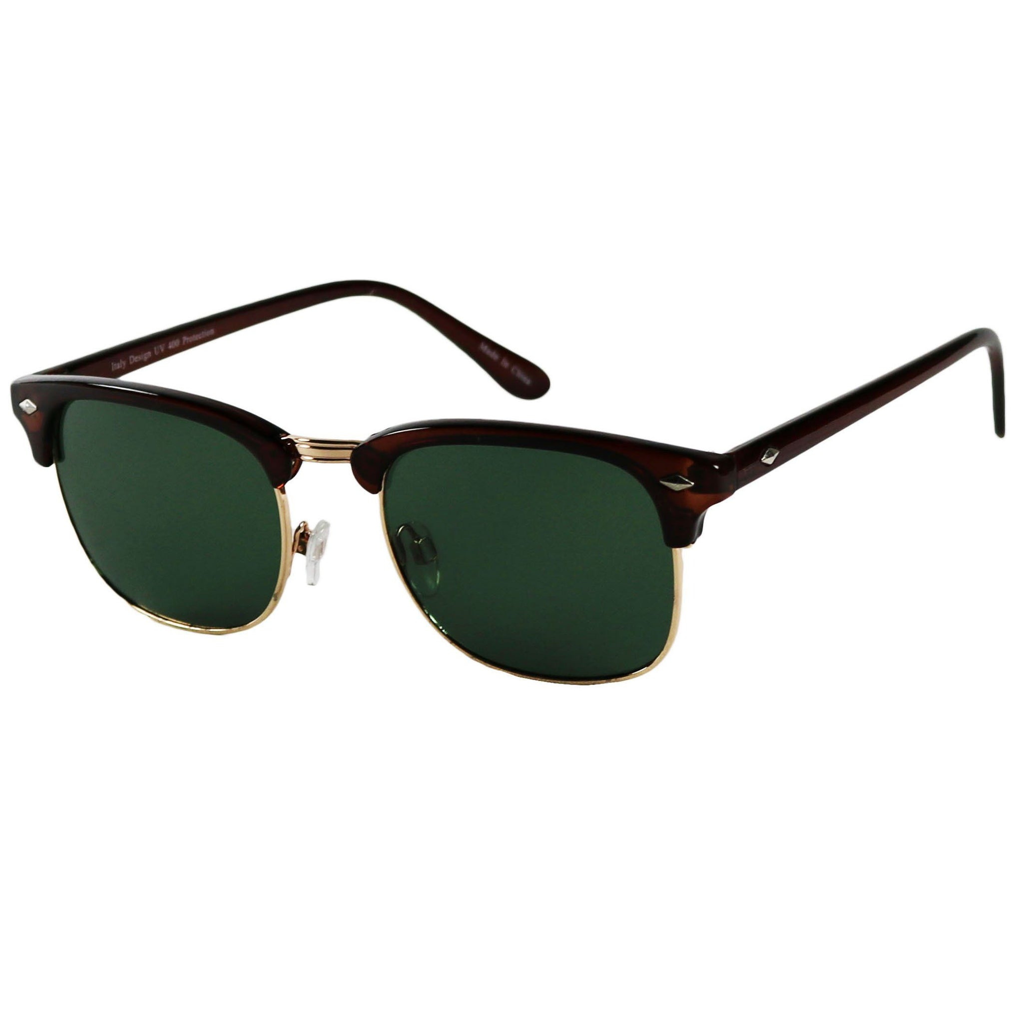 JOHN Casual Glass Lens Retro Half Semi Horned Rim 80's Classic Sunglasses - ShadyVEU