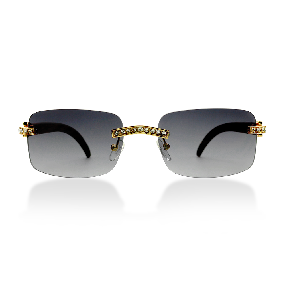 SUZY Retro Rimless Rhinestone Bridge Gradient Lens Sunglasses